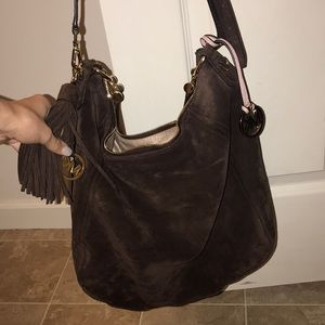 MK satchel bag , leather and velour